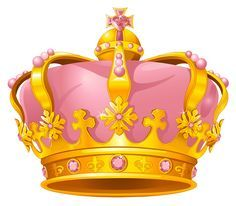 Golden Pink Crown PNG Clipart