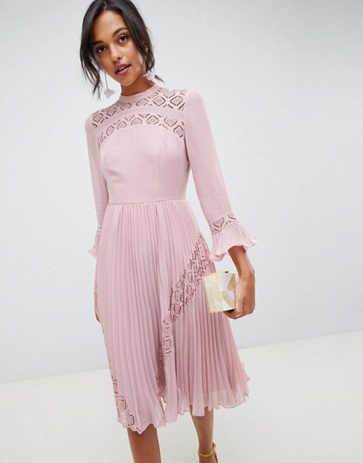 ba7bf810822 DESIGN lace insert pleated midi skater dress with long sleeves