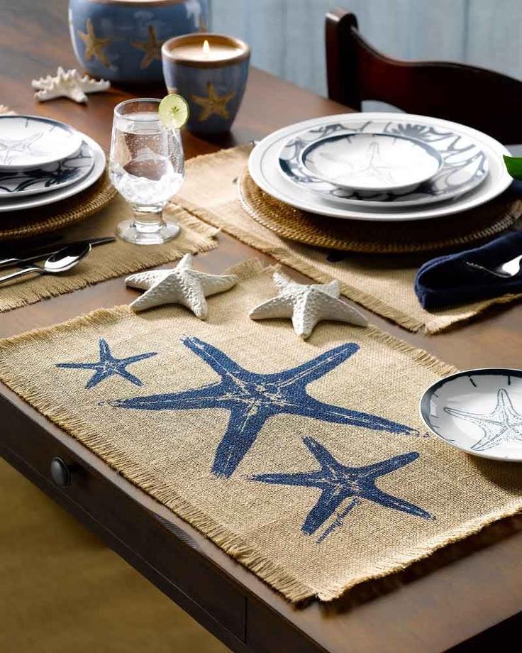 Burlap Starfish Placemat