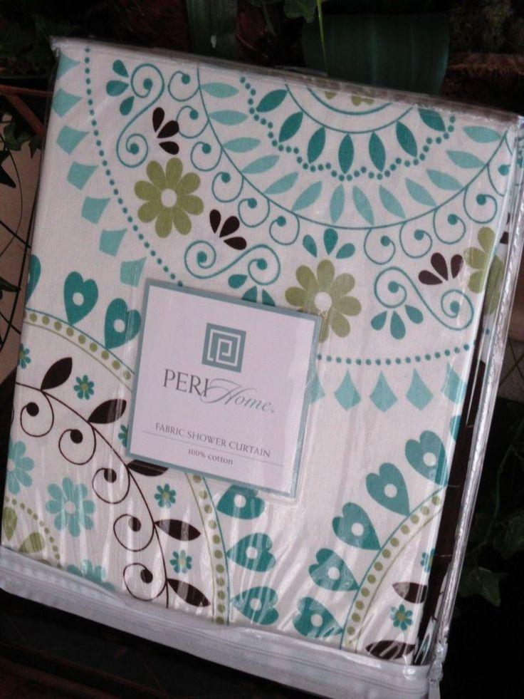 PERI Tahiti Tile Aqua Blue,Teal, Green, Brown Moroccan Shower Curtain