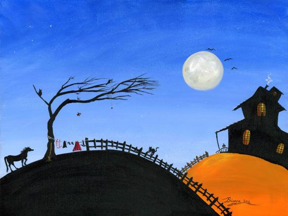 Original Folk Art Halloween Painting 18x24 with by treehugginlovin, $425.00