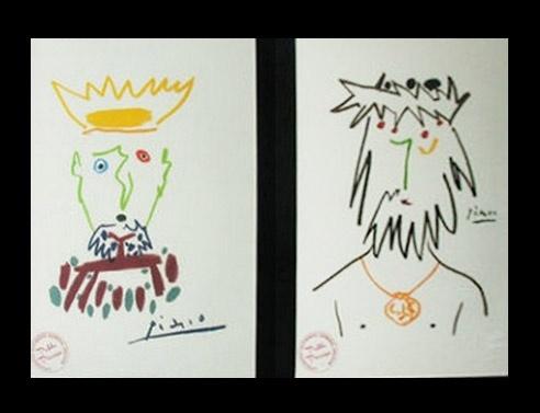 """Pablo Picasso Litografie """" 04/30 KONIG ESPECIOSO """" e """" 05/30 VAGABUND CATULINO """" - AUTENTICHE FIRMATE - EDITEUR: CERCLE D'ART, Paris 1961  TIMBRO AUTENTICITA' SUL FRONTE A SINISTRA / AUTENTICITA' ARCHIVIAZIONE (ARCHIVIATE E CERTIFICATE PERGAMENA ) SUL FRONTE A DESTRA ULTERIORE TIMBRO A SECCO CON FIRMA A SECCO PABLO PICASSO - Venduto - Sold Out"""