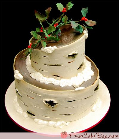 Merry Christmas Birch Bark Cake by Pink Cake Box in Denville, NJ.  More photos and videos at http://blog.pinkcakebox.com/merry-christmas-birch-bark-cake-2009-12-25.htm