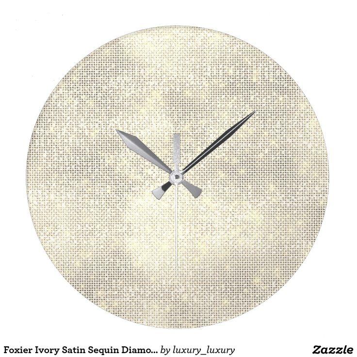 Foxier Ivory Satin Sequin Diamond Sparkly Wallclock