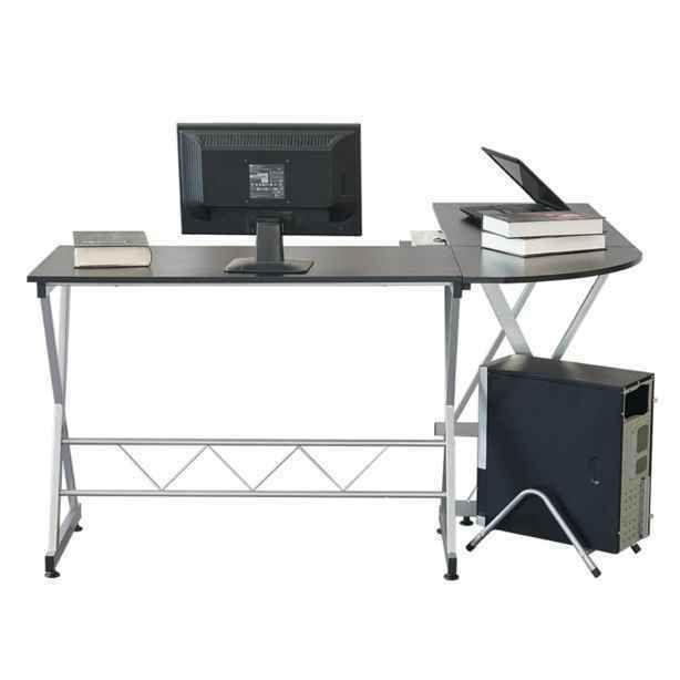 lightweight assemble top level l shaped wood computer desk office rh pinterest com
