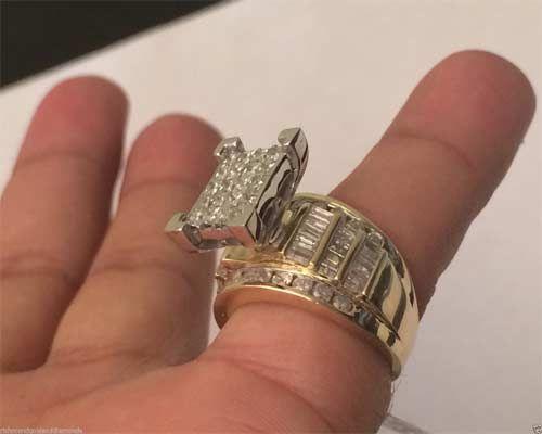 10k Yellow Gold 3ct Princess Cut Diamonds Engagement Bridal Cinderella Ring Band by RG&D... #gold #diamonds  #fashion #jewelery #love #gift #engagement #wedding #bridal #engaged #whitegold #yellowgold #online #shopping #jewelry #pintrest #follow #richmondgoldanddiamonds