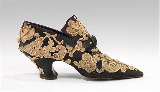 "Evening shoes by Pietro Yantorny, circa 1914-1919. Silk, metal, jet, and appliqued antique Venetian needle point lace. Pietro Yantorny (1874-1936), the self-proclaimed ""most expensive shoemaker in the world"", was a consummate craftsman utterly devoted to the art of shoe making."