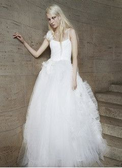 Ball-Gown Square Neckline Sweep Train Tulle Wedding Dress With Ruffle