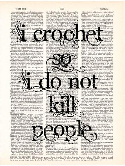 Crochet Art Print Crocheting Crochet Quote by Vintagraphy on Etsy
