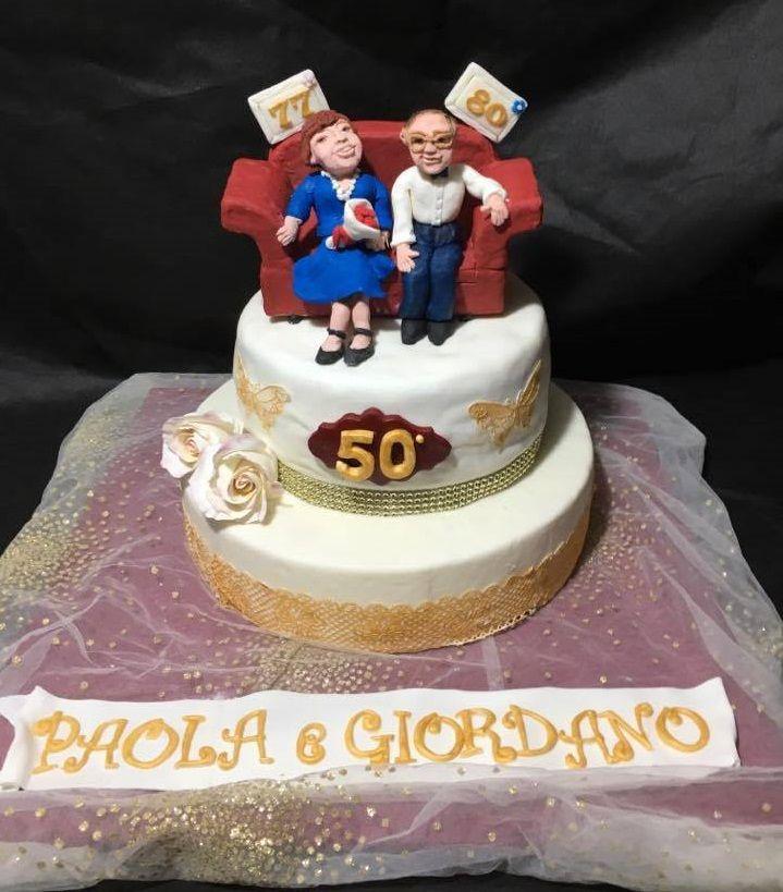 Torta nozze d'oro e compleanno di Paola e Giordano