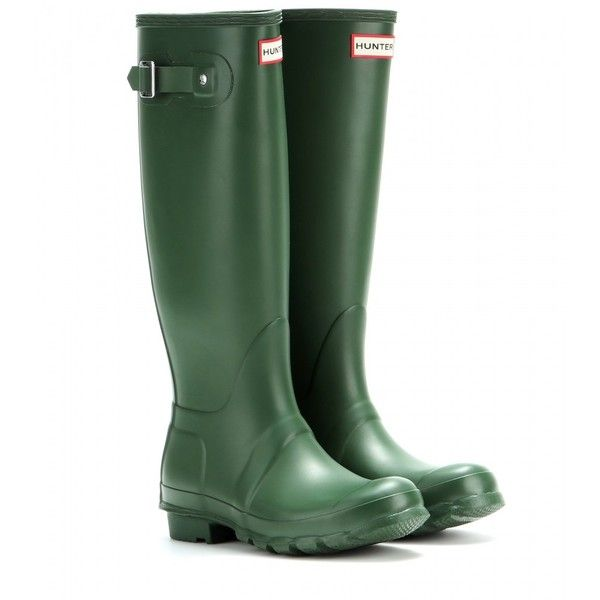 Hunter Original Tall Wellington Boots (€130) ❤ liked on Polyvore featuring shoes, boots, green, rubber rain boots, rubber boots, green boots, tall knee high boots et wellington boots