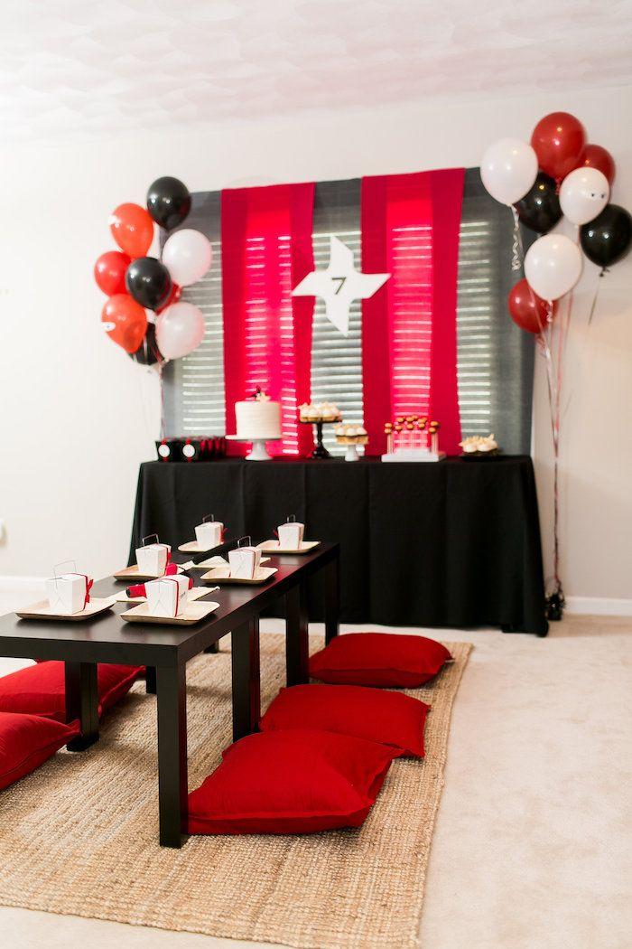 Red White Black Ninja Birthday Party Ninja Birthday Parties