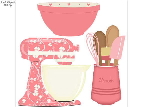 Kitchen baking clipart set mixer utensils and bowl for Art cuisine evolution 10 piece cooking set