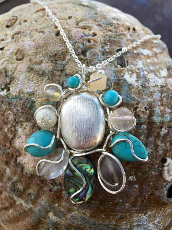 Silver Stone Glass and Abalone Flower by ChristensenStudio on Etsy