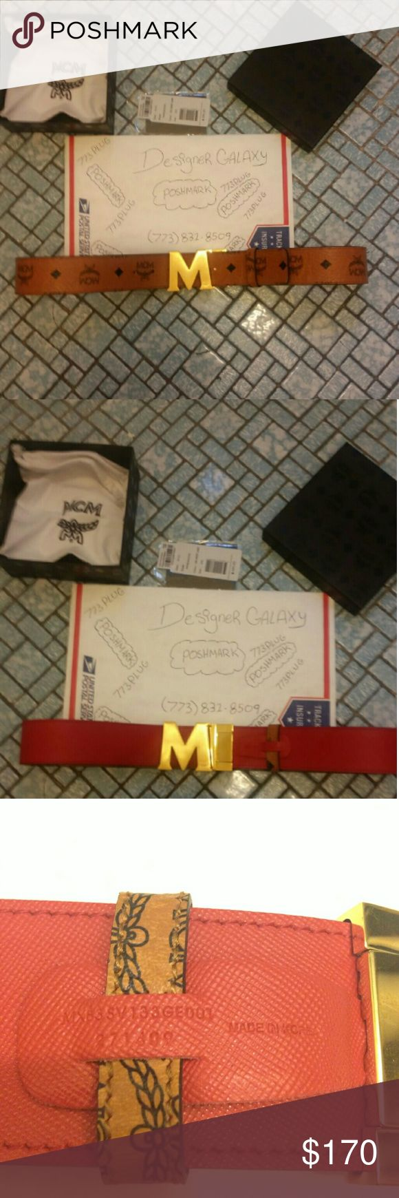 MCM belt 100% authentic. Cut to size. I have more designer items available. Want for $140? Text me (773) 831 8509 MCM Accessories Belts