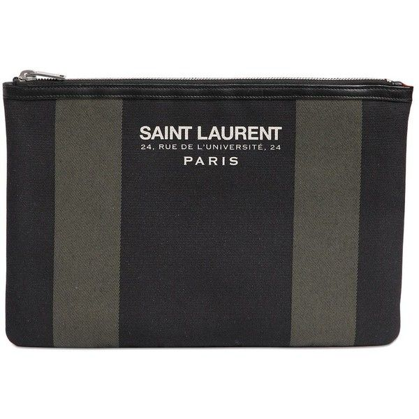 Beach Saint Laurent Cotton Canvas Clutch ($425) ? liked on ...