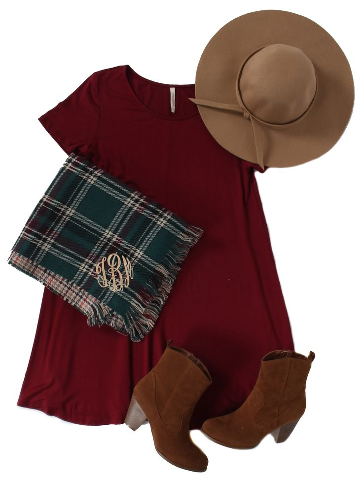 Fall Fashion \\ Monogrammed Blanket Scarf from Marleylilly.com \\ Dress, Hat and Booties from MondayDress.com:
