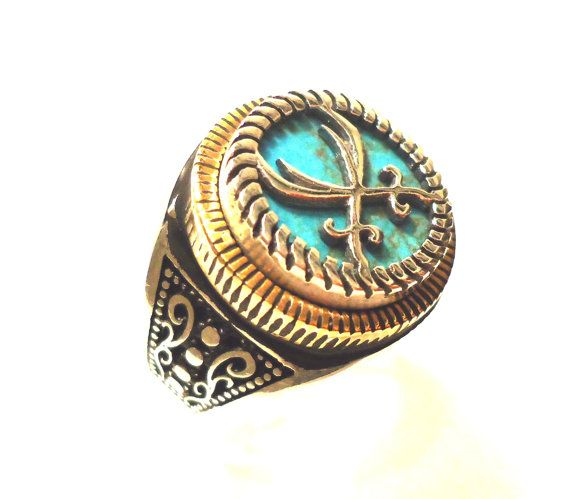 925 Sterling Silver  Men's Ring with Iranian Turquoise Firoza and sword of Imam Ali Zulfiqar
