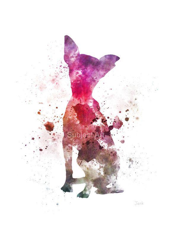 Chihuahua Dog ART PRINT Illustration Home Decor Wall by SubjectArt