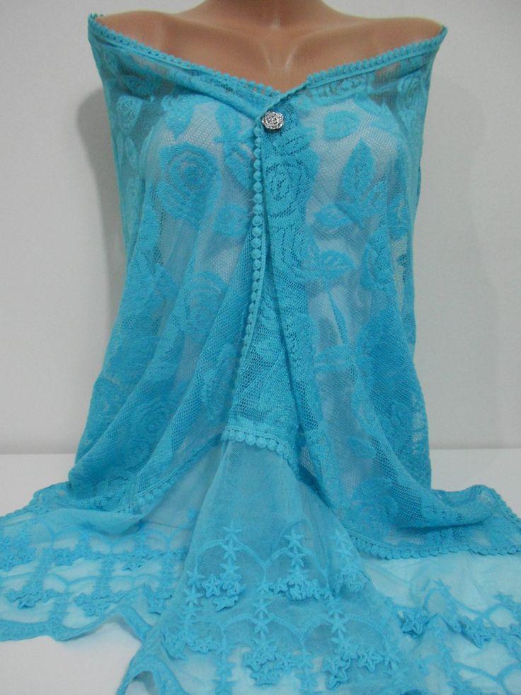 ScarfCluBLace Shawl Scarf Bridal Accessories Turquoise Scarf Shawl Blue Scarf www.scarfclub.net