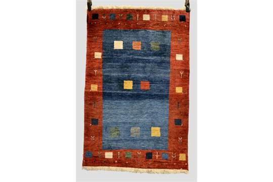 Gabbeh rug, Fars province, south west Persia, modern, 4ft. 2in. x 2ft. 9in. 1.27m. x 0.84m. Rich