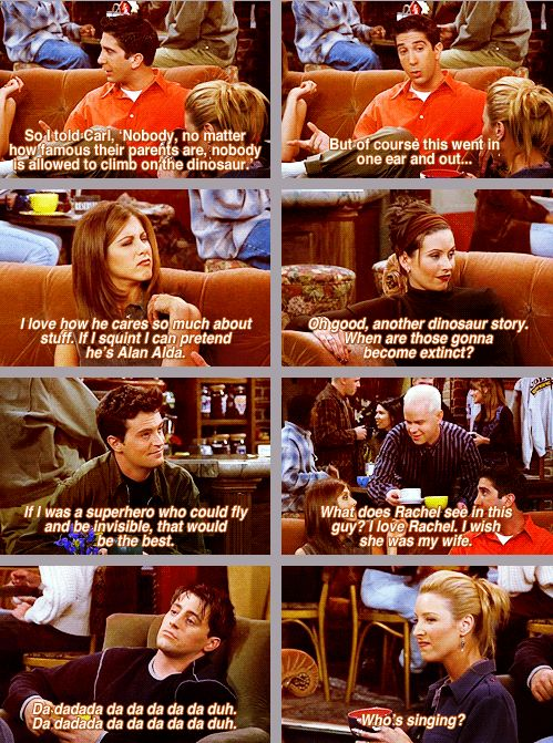 "Wowww someone's car just started honking... I mean, that has absolutely NOTHING to do with this but yeah... xD I love Joey and Phoebe... ""Who's singing?"""