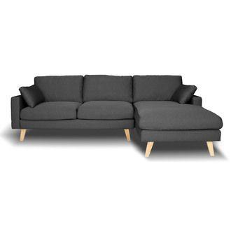 Canapé d'angle en tissu 4 places avec coussins et piètement bois STOWELL kaligrafik port offert