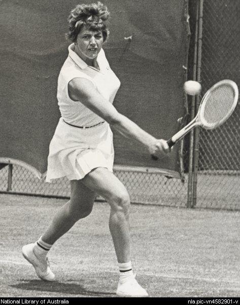 Margaret Court playing tennis, 1967.