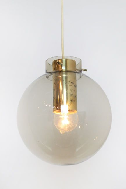 Tinted glass globe & brass pendant light by Fog & Morup   From a unique…