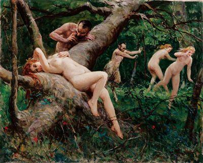 Satyrs chasing Nymphs