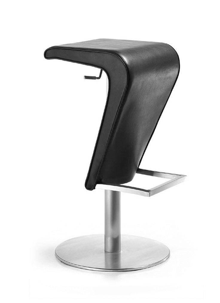 Dakota - Barstol med sits i skinn och underrede i mattborstat stål, höj- och sänkbar.