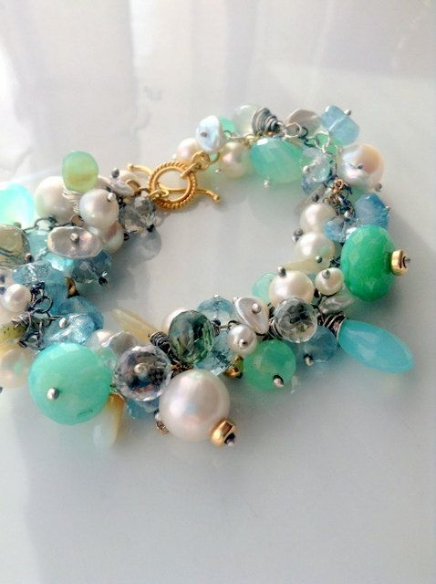 25OFF Cluster bracelet peruvian opal and by AlekSandraJewelry