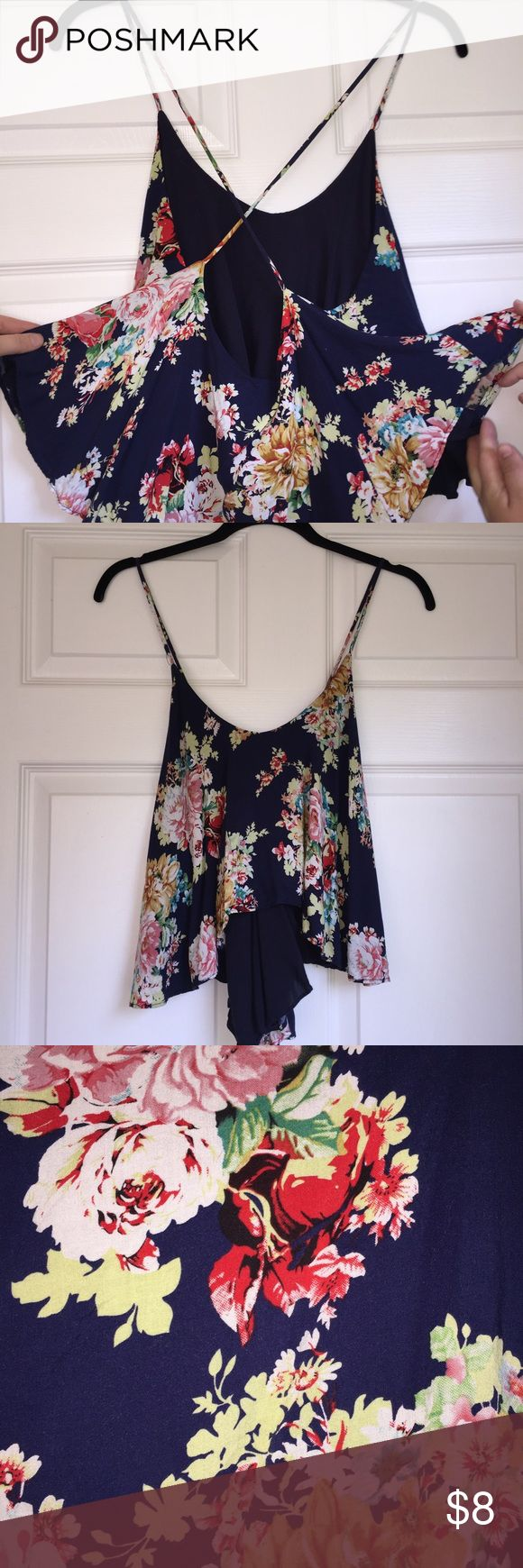 PRECIOUS Navy Blue Strappy Crop Gorgeous Floral strappy Crop perfect for the summer! Worn once and I. PRISTINE CONDITION! Dainty Hooligan Boutique Tops Crop Tops