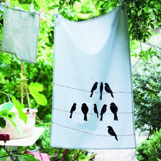 DIY stencilled tea towel - tutorial with free bird template, aww, thanks so xox