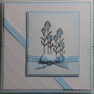 Here is the 1st card that you could make in the tomorrows workshop, stamps are by Stampin Up, I have used Number of Years and Flowering Fields, the cards are just waiting for some glitter.