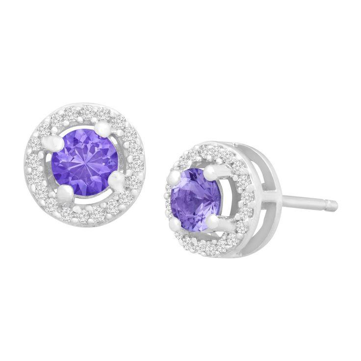 1 2 Ct Tanzanite 8 Diamond Stud Earrings