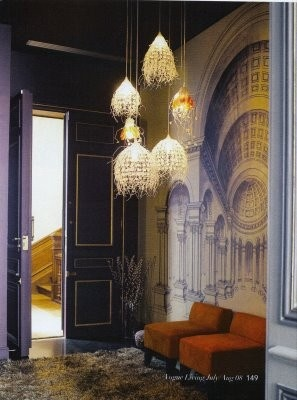 Purple interiors, gorgeous pendant lights, wall art, fluffy rug