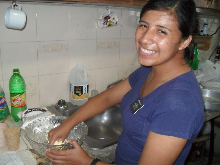 Ajxup mixing the dough