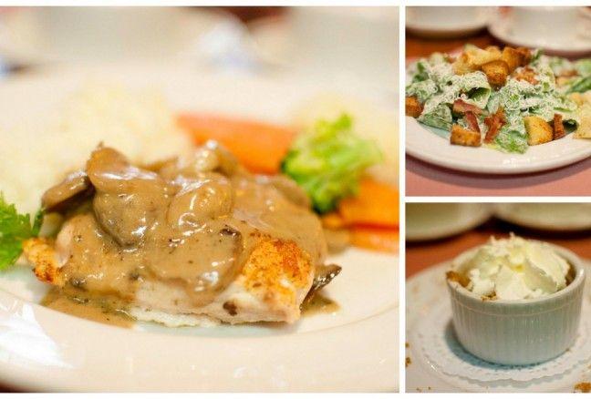 Aunt Lucy's tasty chicken marsala, caesar salad and apple crisp.