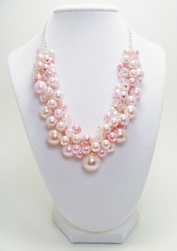 Pink Pearl Cluster Necklace with crystals for by Eienblue on Etsy, $27.00