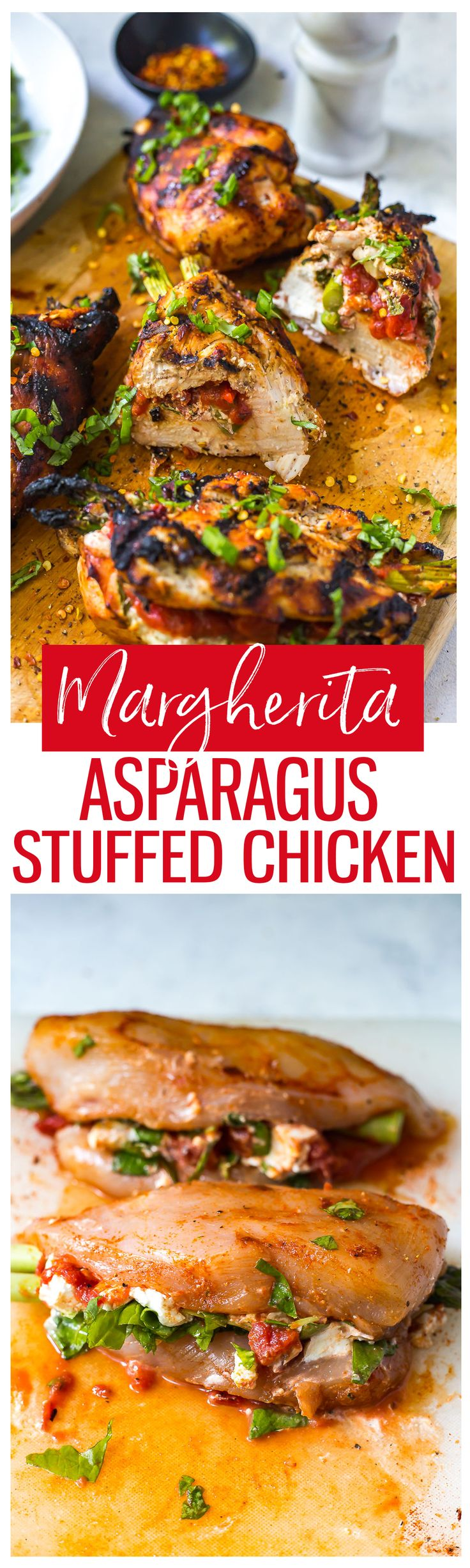 This Margherita Asparagus Stuffed Chicken with goat cheese, tomatoes and spinach is a delicious and easy 30-minute, low-carb dinner idea cooked on the BBQ!