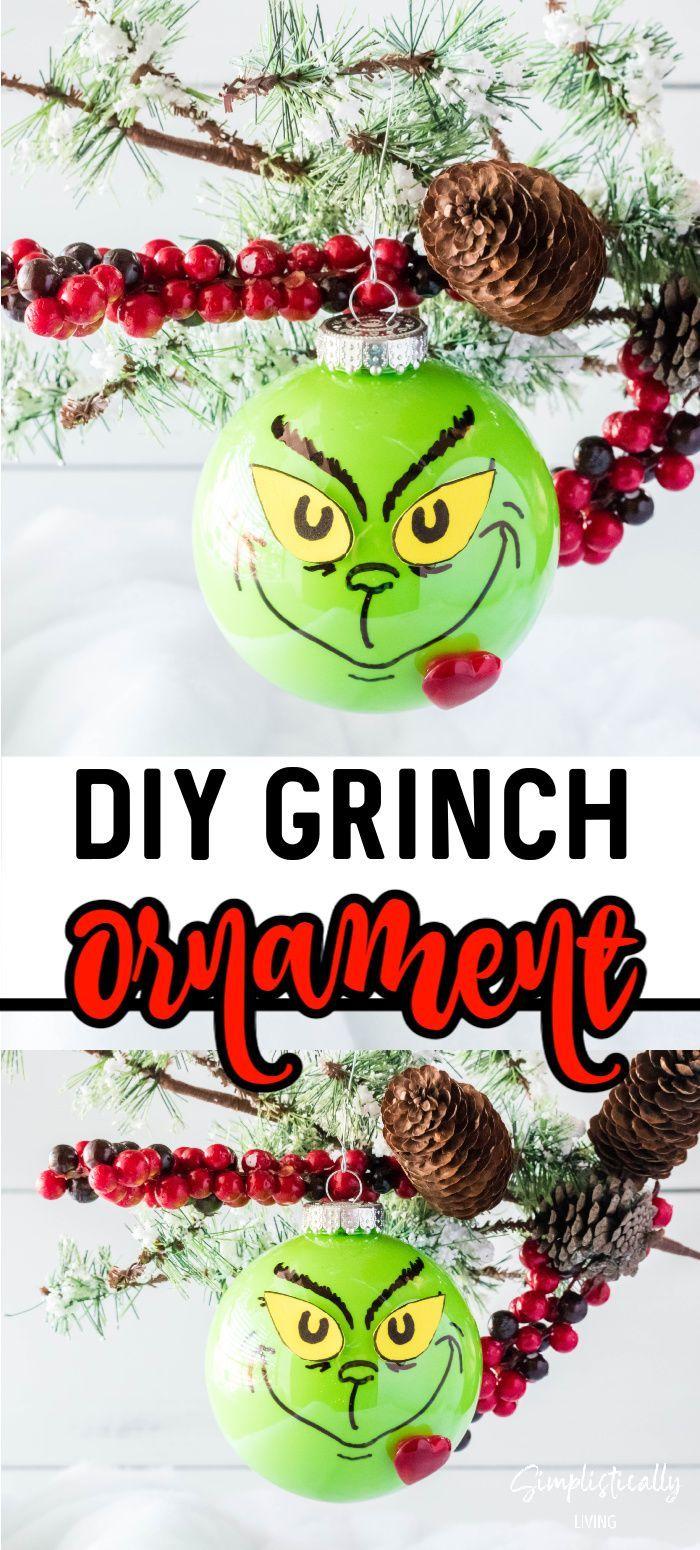 Diy Grinch Ornament Diy Christmas Tree Ornaments Grinch Ornaments Fun Christmas Crafts
