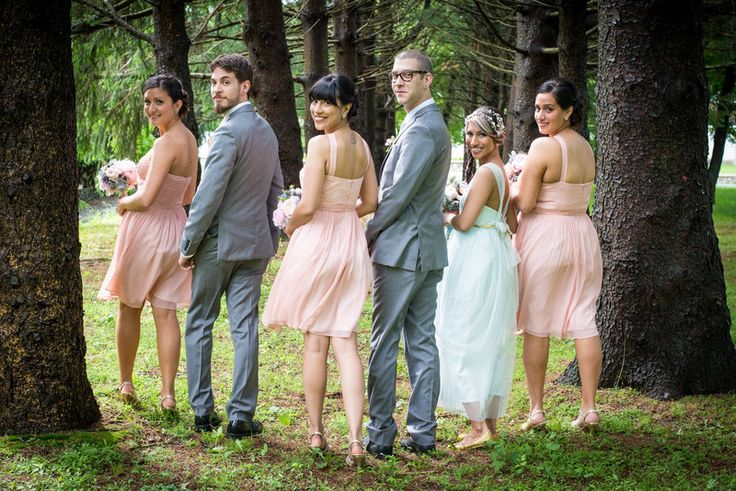 Fun and unique bridal party photo in the woods Jenica+Josh Photo By Sherry Sutton Photography