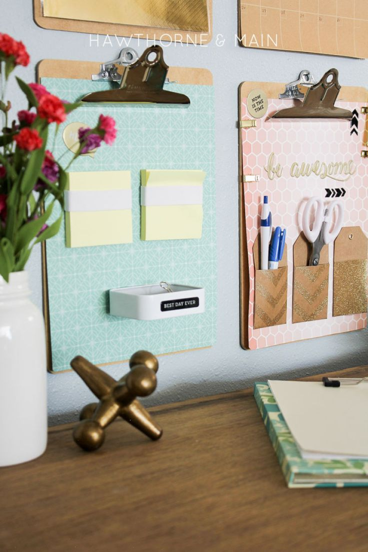 """Desk Organization Command Center -- Post-It note holder made with a thick elastic: """"wrap it around the Post-It note pad until it is snug but not too tight."""" Pop up Post-It notes recommended. Love the little metal tin."""