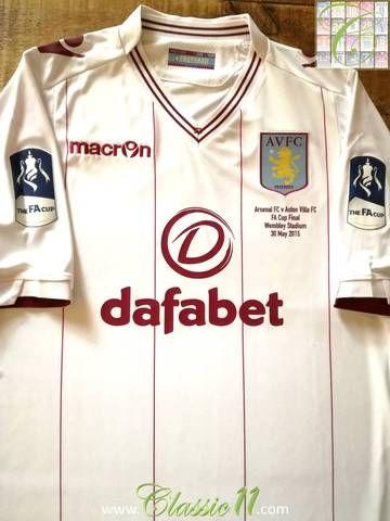 Official Macron Aston Villa away FA Cup Final football shirt from the 2014/2015 season.