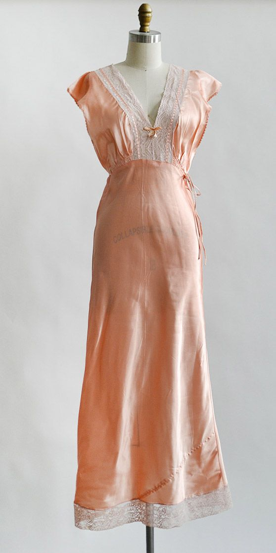 vintage 1930s peach satin nightgown with lace bodice | Blushing Faille Gown #1930s #vintagelinerie