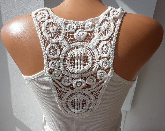 Crochet meets basic white tank