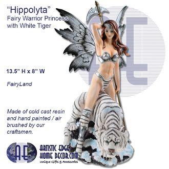 """Hippolyta"" Fairy Warrior Princess with tiger Fairyland"