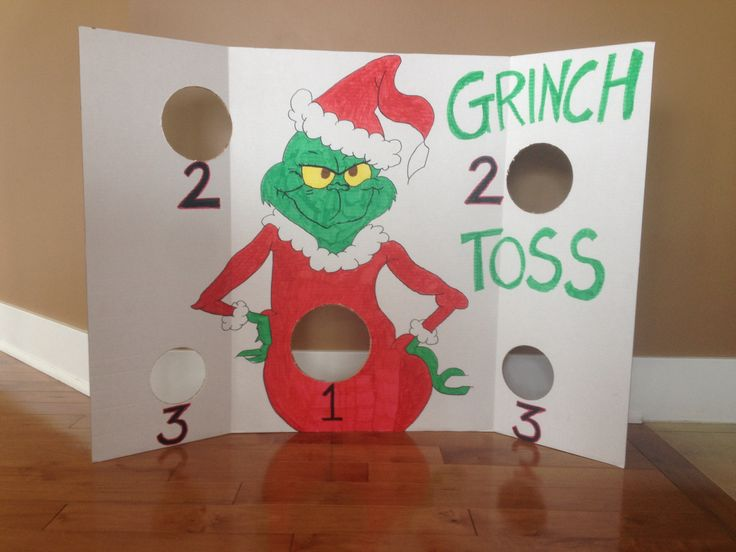 Grinch Toss game for Collin's Christmas party at school.