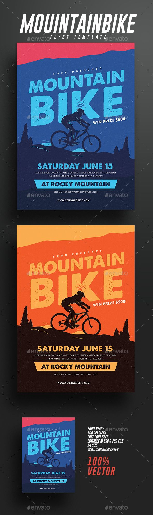 Mountain Bike Event Flyer by guper SpesificationAIcs6& Psd FIle 100 Vector Scaleable Full editable free font used CMYK 300 DPI A4 size (8.27x11.69) Print ready Font
